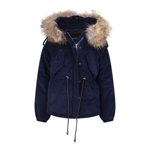 2020 CORD REAL FUR JACKET IN NAVY