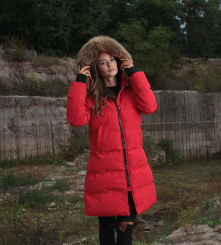 CANADA PARKA IN RED REAL FUR