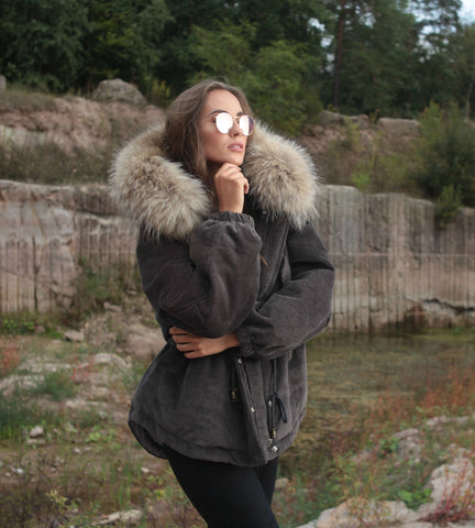2020 CORD REAL FUR JACKET IN GRAY