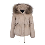 2019 CORD REAL FUR JACKET IN BEIGE