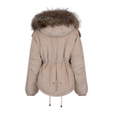 2020 CORD REAL FUR JACKET IN BEIGE