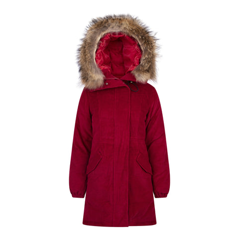 LONG CORD REAL FUR JACKET IN RED