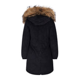 LONG CORD REAL FUR JACKET IN BLACK