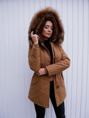 ARCTIC PARKA WITH XXL REAL FUR IN CAMEL