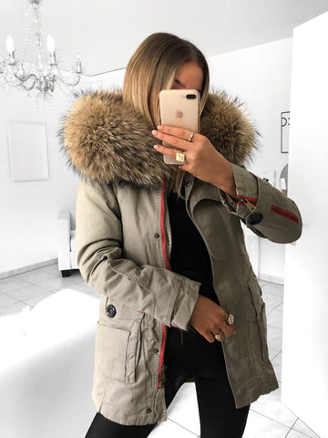 FUR ZIPPER PARKA IN BEIGE WITH RED ZIPPER