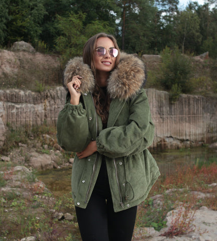 2019 CORD REAL FUR JACKET IN KHAKI