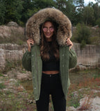 2020 CORD REAL FUR JACKET IN KHAKI