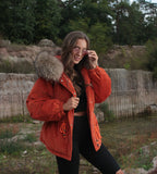 2020 CORD REAL FUR JACKET IN ORANGE