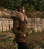 EU STOCK HIGH QUALITY REAL RACCOON FUR SLIM FIT PARKA COAT JACKET