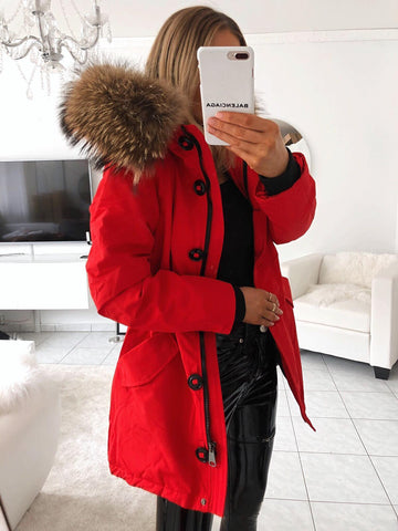 PARKA REAL FUR WITH BUTTONS IN RED