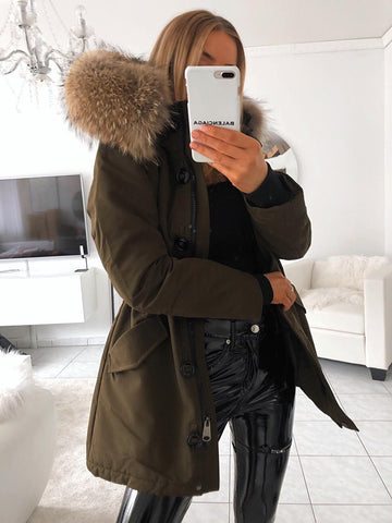 PARKA REAL FUR WITH BUTTONS IN KHAKI