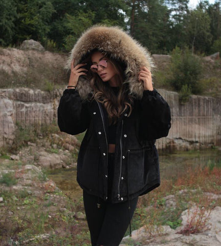 2018 BLACK LATEST RACCOON FUR CORDUROY SHORT JACKETS COAT BOMBER