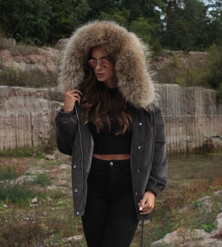 2018 GREY LATEST RACCOON FUR CORDUROY SHORT JACKETS COAT BOMBER