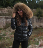 Eu Stocked High quality raccoon fur down jacket abbey