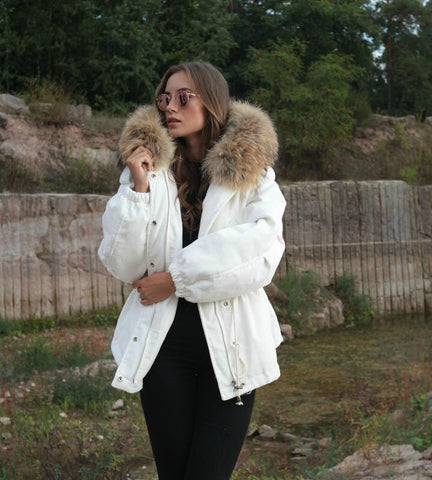 2018 WHITE LATEST RACCOON FUR CORDUROY SHORT JACKETS COAT BOMBER