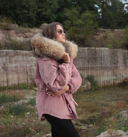 2018 PINK LATEST RACCOON FUR CORDUROY SHORT JACKETS COAT BOMBER