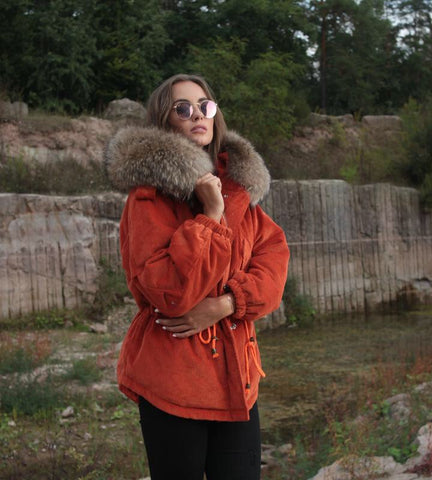 2018 ORANGE LATEST RACCOON FUR CORDUROY SHORT JACKETS COAT BOMBER