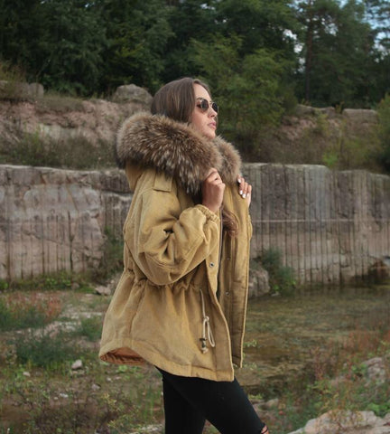 2020 CAMEL LATEST RACCOON FUR CORDUROY SHORT JACKETS COAT BOMBER