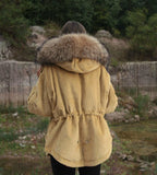 2018 CAMEL LATEST RACCOON FUR CORDUROY SHORT JACKETS COAT BOMBER