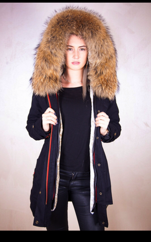 BLACK EU STOCKED HIGH QUALITY RACCOON FUR ZIPPER FISHTAIL PARKA FOR WINTER