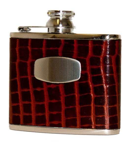 Bisley 4oz Brown Croc Hip Flask
