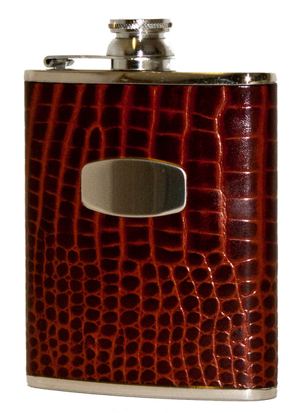 Bisley 6oz Brown Croc Hip Flask