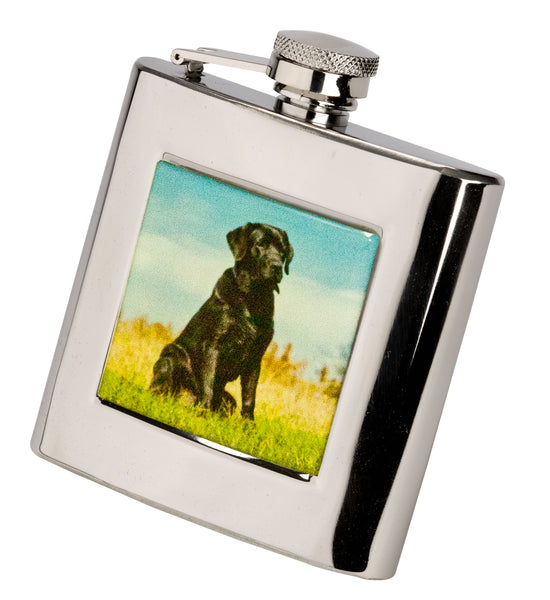Bisley 6oz Square Black Labrador Hip Flask