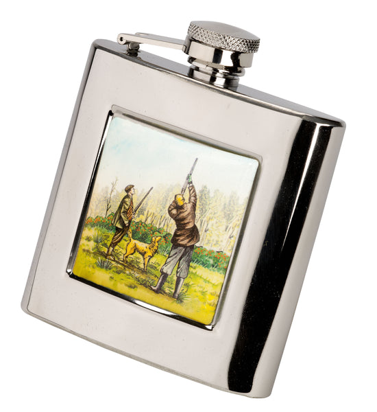 Bisley 6oz Square Shooting Motif Hip Flask
