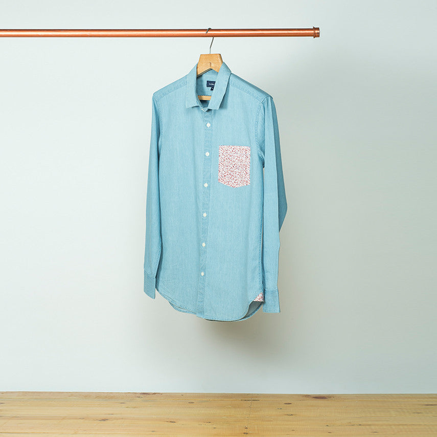 DENIM SHIRT WITH PRINTED POCKET