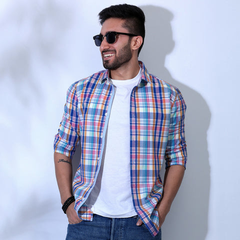 Men's Color Blocked Denim Bomber Jacket