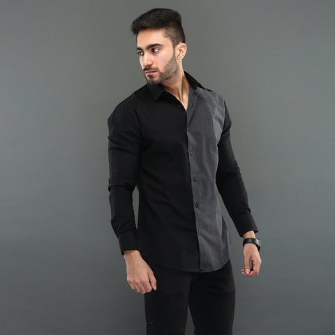 Men's Zipped Black Denim Jacket
