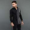 Black Shirt with Contrast Stripe Panels
