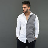White Shirt with Gingham Checks Contrast Panel