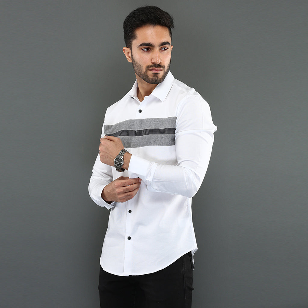 White Shirt with Striped Chest Panel