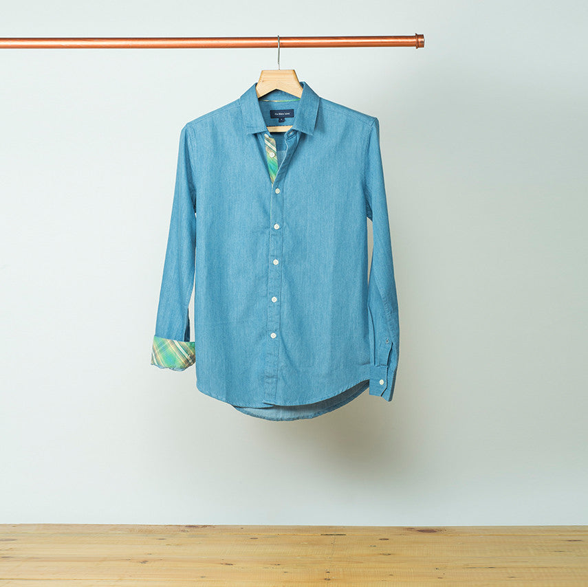 DENIM SHIRT WITH CHECKED PLACKET