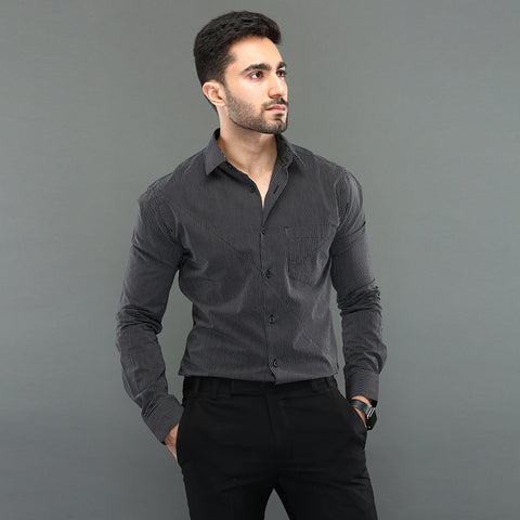 Black Shirt with Placket Detail