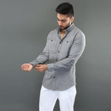 Classic Grey Oxford Shirt with Buttoned-Down Collar