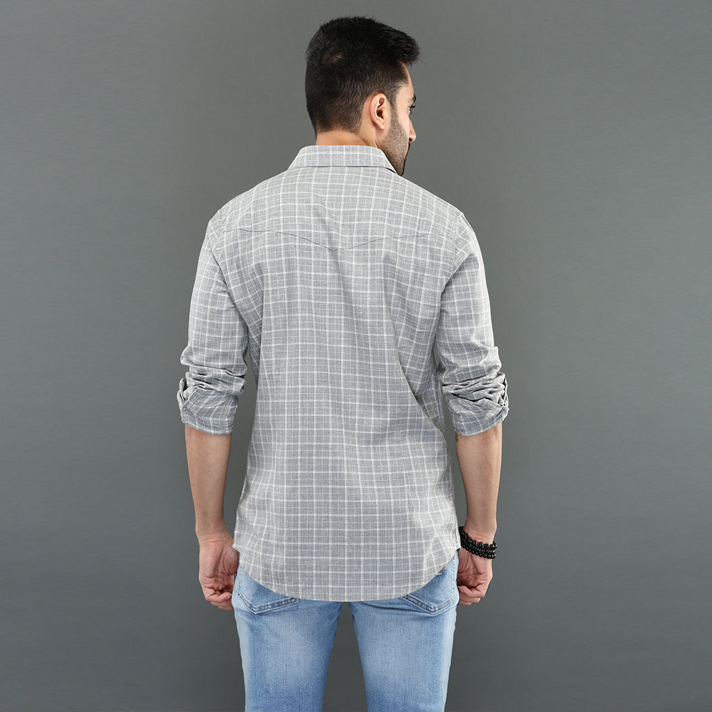 Light Weight Grey Checked Shirt