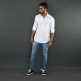Classic White Shirt with Diagonal Seam Detail