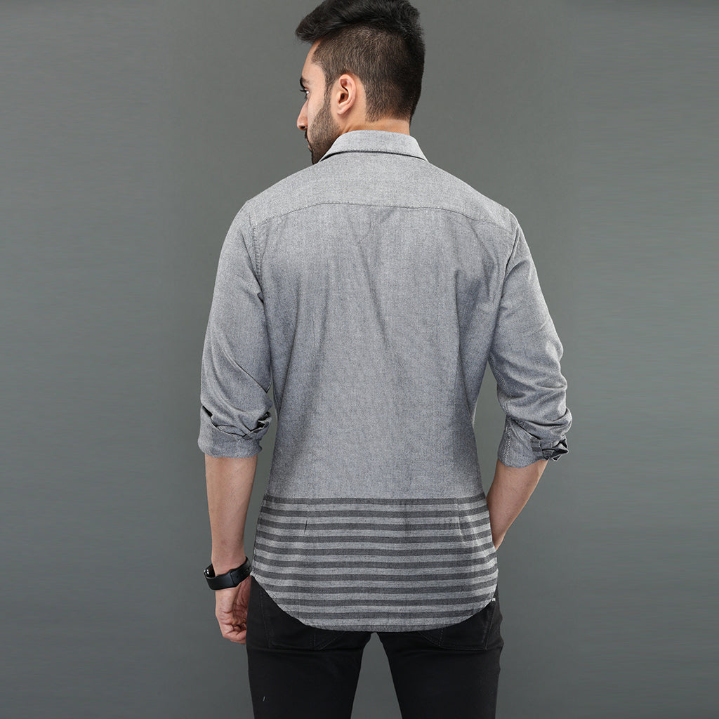 Grey Oxford Shirt with Striped Panel
