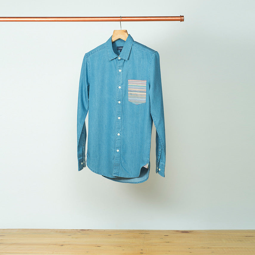 DENIM SHIRT WITH STRIPED POCKET