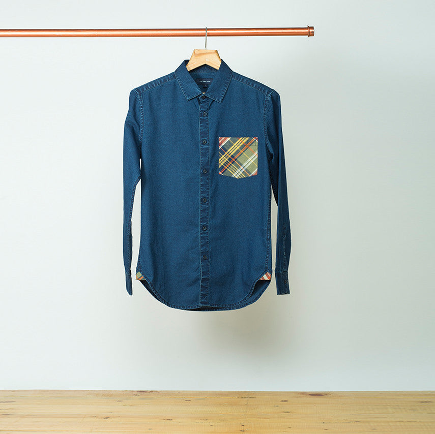 DENIM SHIRT WITH CHECKED POCKET