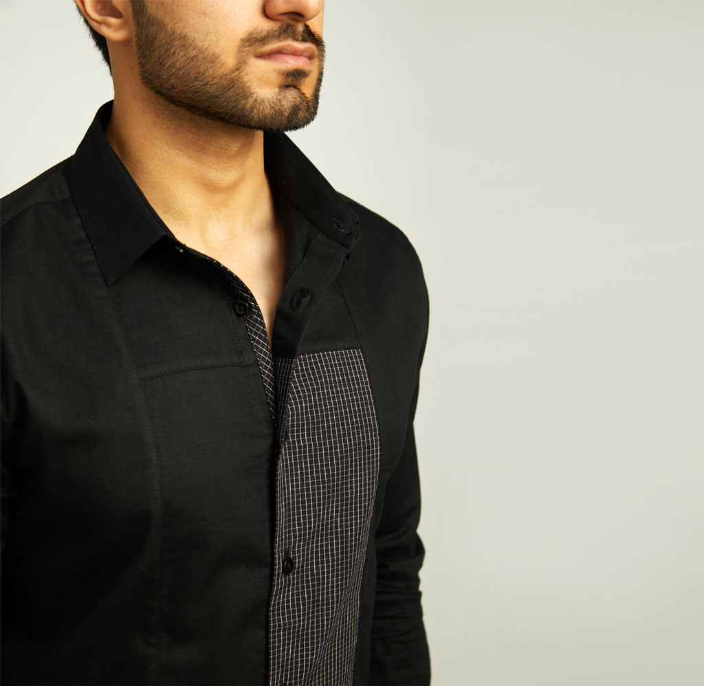 Black Shirt with Checked Panel