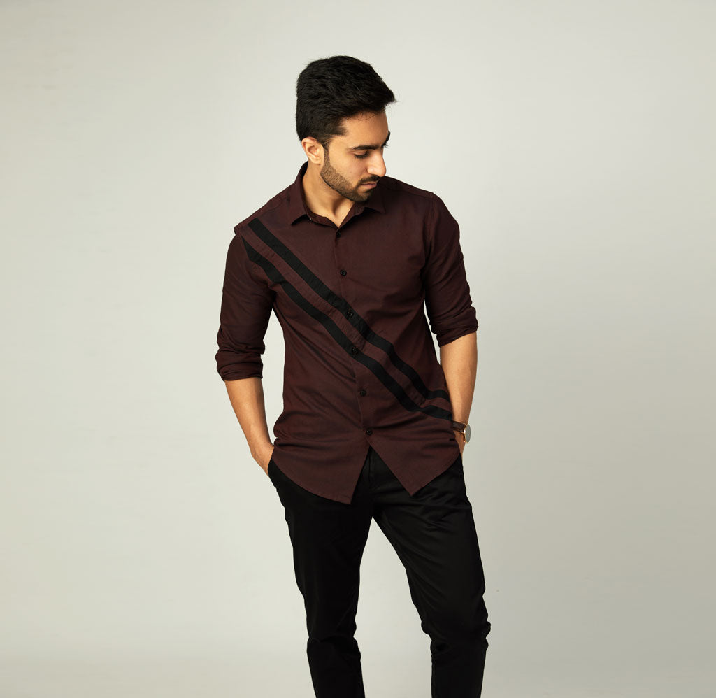 Maroon Oxford Shirt with Striped Panels