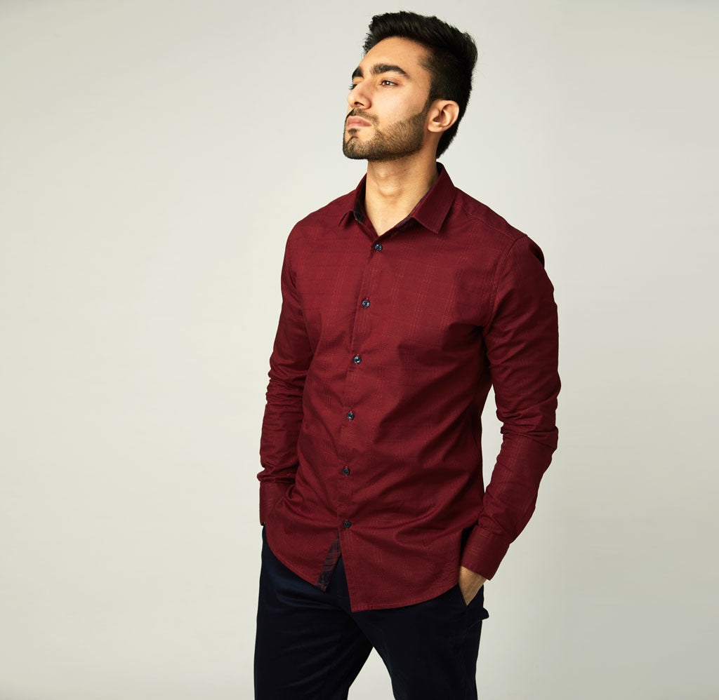 Maroon Self-Checked Shirt