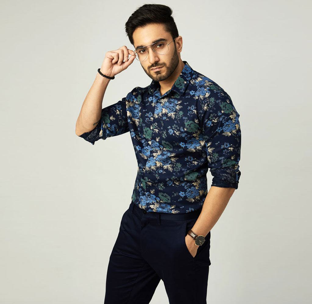 Navy Printed Shirt