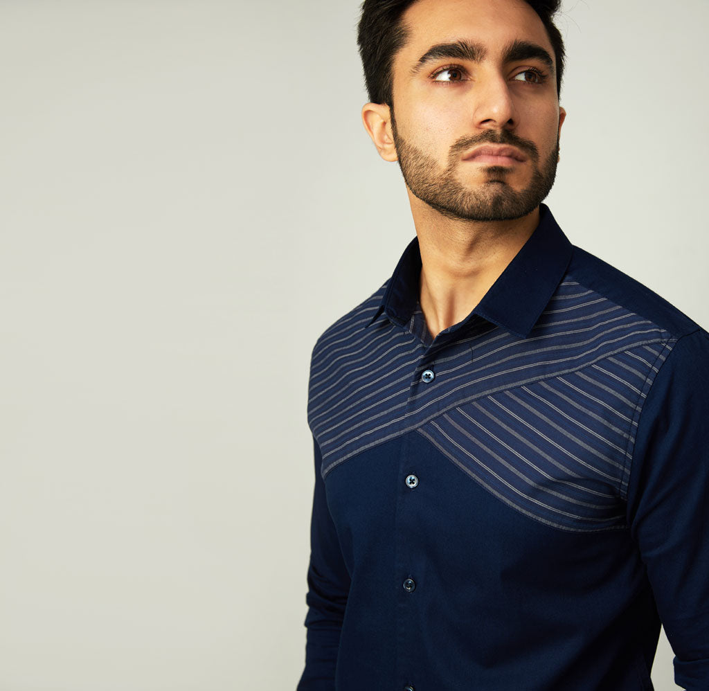Navy Twill Shirt with Striped Panels