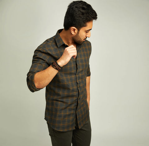 Bottle Green Checked Shirt