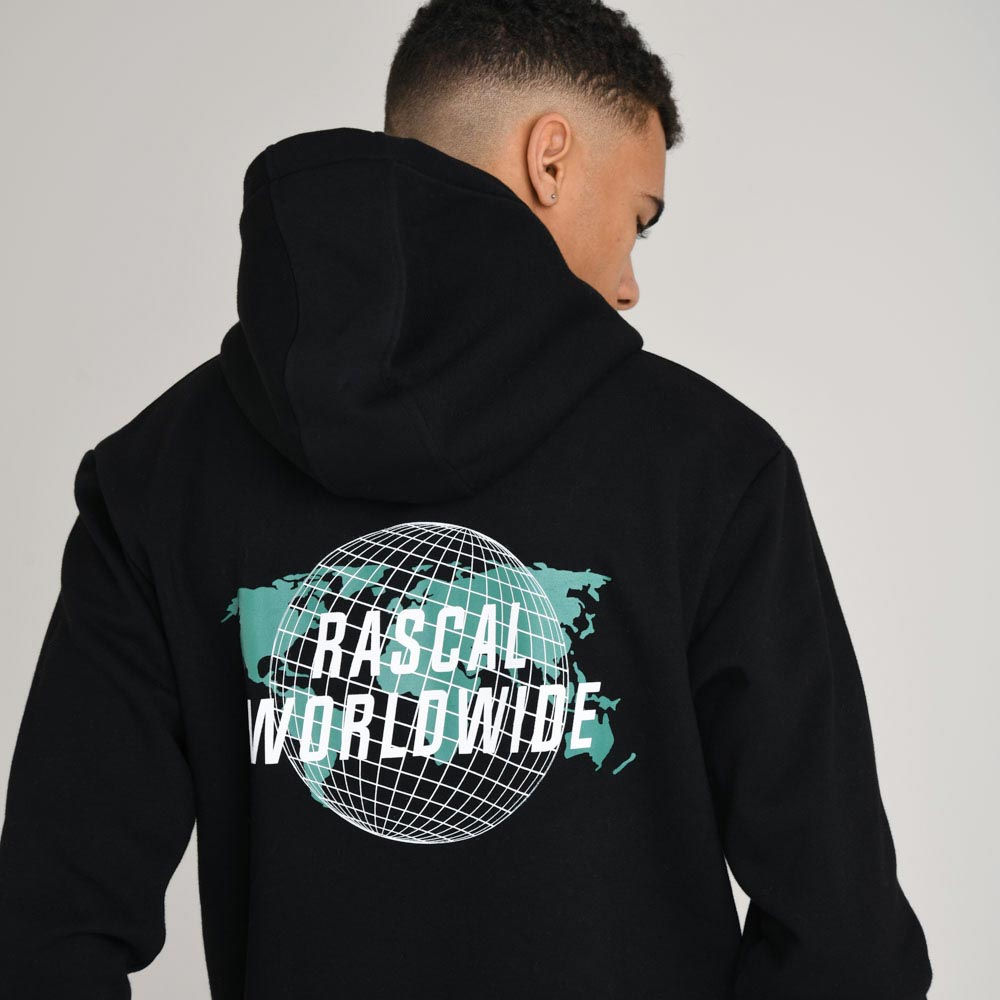 Mens Worldwide Globe OH Hood | Black