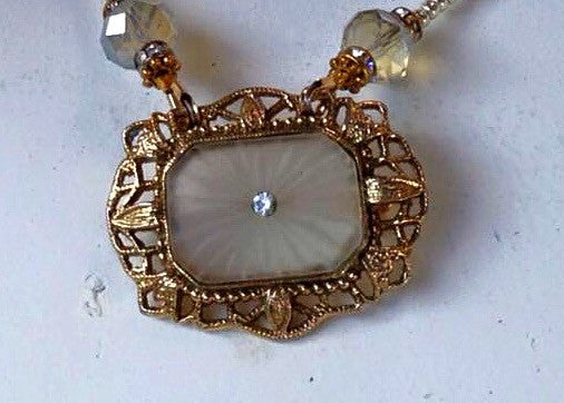 Victorian Camphor Glass Brooch Necklace